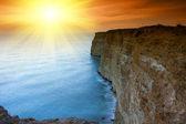Rock in Crimea at sunset — Stock Photo