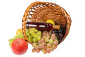 Hamper with fruits and whine — Stock Photo