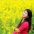 Stock Photo: Pretty girl in rape flowers