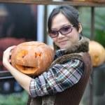 Women and pumpkin — Stock Photo #2421158