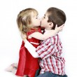 Brother and Sister kissing — Stock Photo