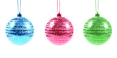 Three Christmas Ornaments on white — Stock Photo