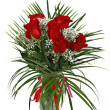图库照片: Red roses in vase isoalted on white