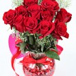Stock Photo: Vase of red roses for Valentines Day