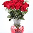 Vase of red roses for Valentines Day — Stock Photo