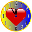Clock for day valentine — Stock Vector