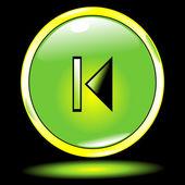 Zelené tlačítko předchozí — Stock vektor