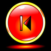 Rojo botón anterior — Vector de stock