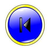 Azul anterior botón — Vector de stock