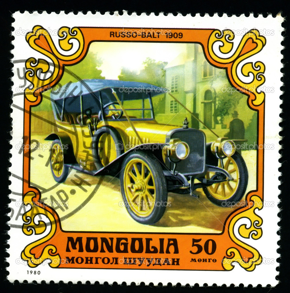 MONGOLIA - CIRCA 1980: A postage stamp printed in the Mongolia shows image of the motor industry history - car Russo-balt 1909  Stock Photo #2041191