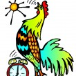 Wektor stockowy : Clock and cockerel