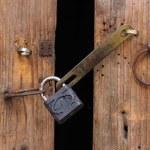 Padlock and wooden door — Stock Photo