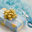 Packaged box and scissors — Stok fotoğraf