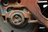 Old steam  wheel — Stock Photo