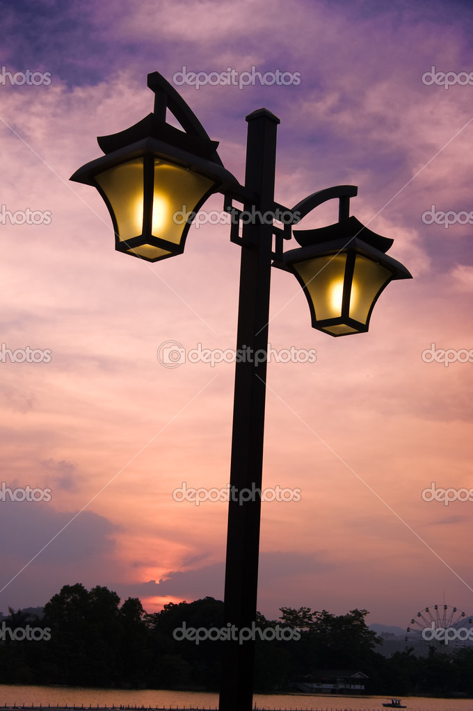 Street light with sunset — Stock Photo #1880054