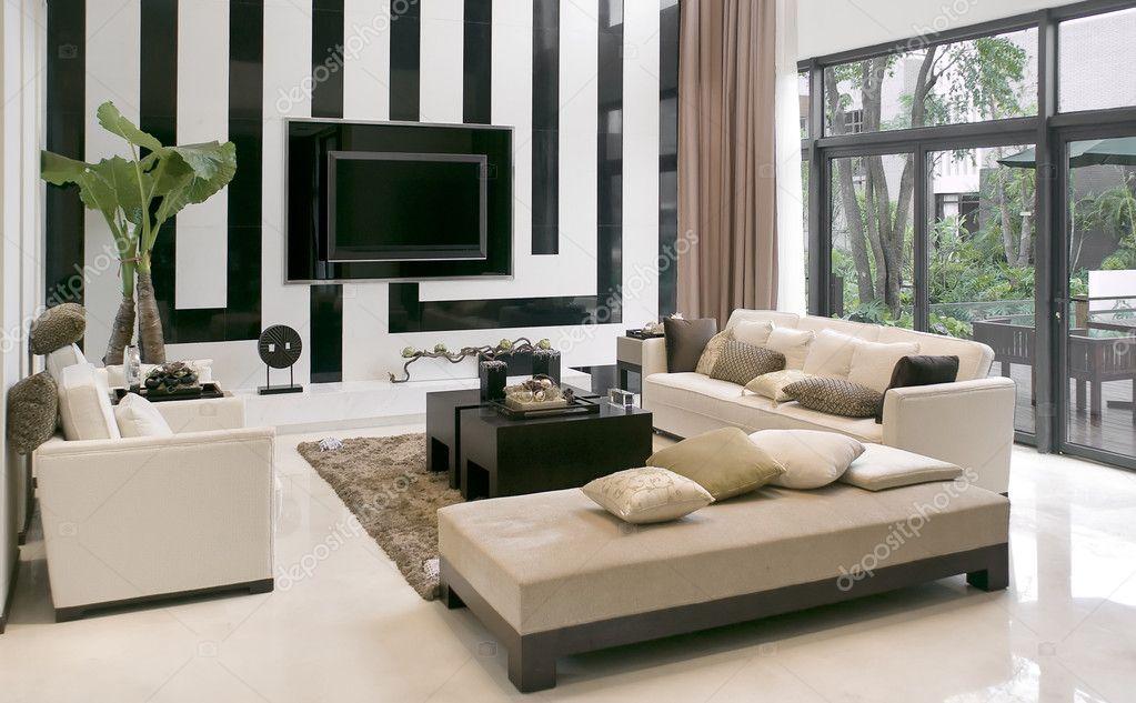 Sala de estar com o mobiliário moderno — fotografias de stock ...