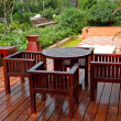 House patio with table and chairs - Foto Stock