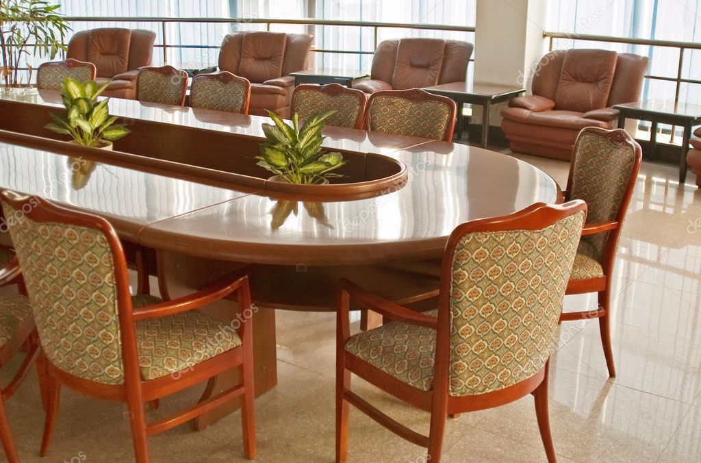 Board room with a big polished table and arm-chairs  — Stock Photo #2305009