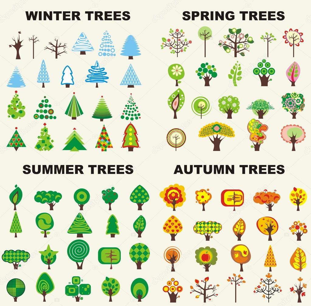 Set of trees located on seasons — Stockvectorbeeld #2013530