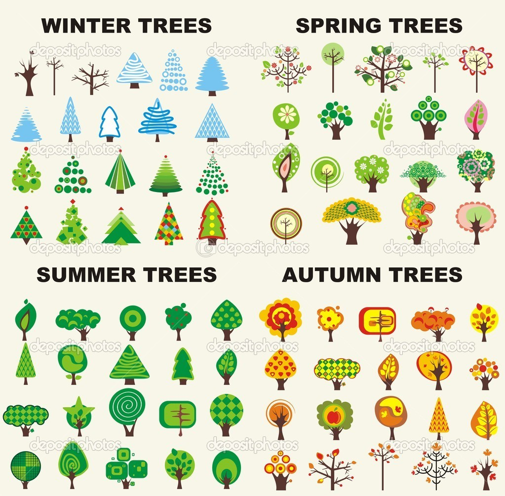 Set of trees located on seasons — Imagen vectorial #2013530