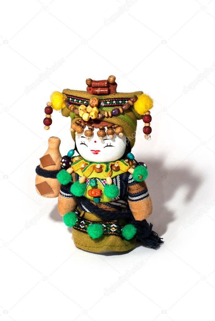 Doll souvenir from Asia made of lace and wood — Stock Photo #2180029