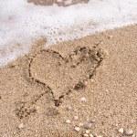 Heart on sand — Stock Photo
