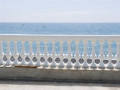 White balustrade on seacoast — Stock Photo