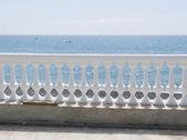 White balustrade on seacoast — Stock Photo