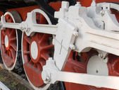Wheels of a steam locomotive — Stock Photo