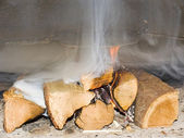 Fire wood burn in a fireplace — Stock Photo