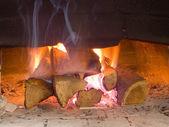 Fire wood burn in the furnace — Stock Photo
