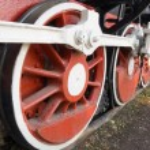 ruedas de una locomotora de vapor — Foto de Stock