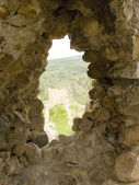 Window in an old stone fortress — Stock Photo
