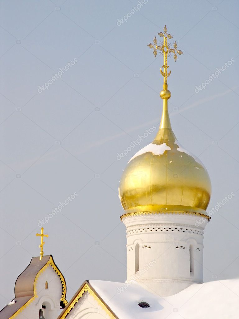 Gold dome of church on a background of the sky — Stock Photo #2074988