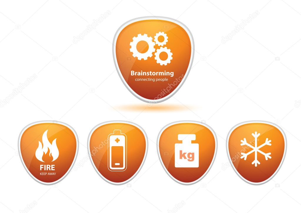 Some generic icons with simbols brainstorming, snowflake, kg, battery, fire, etc — Stock Photo #1865646