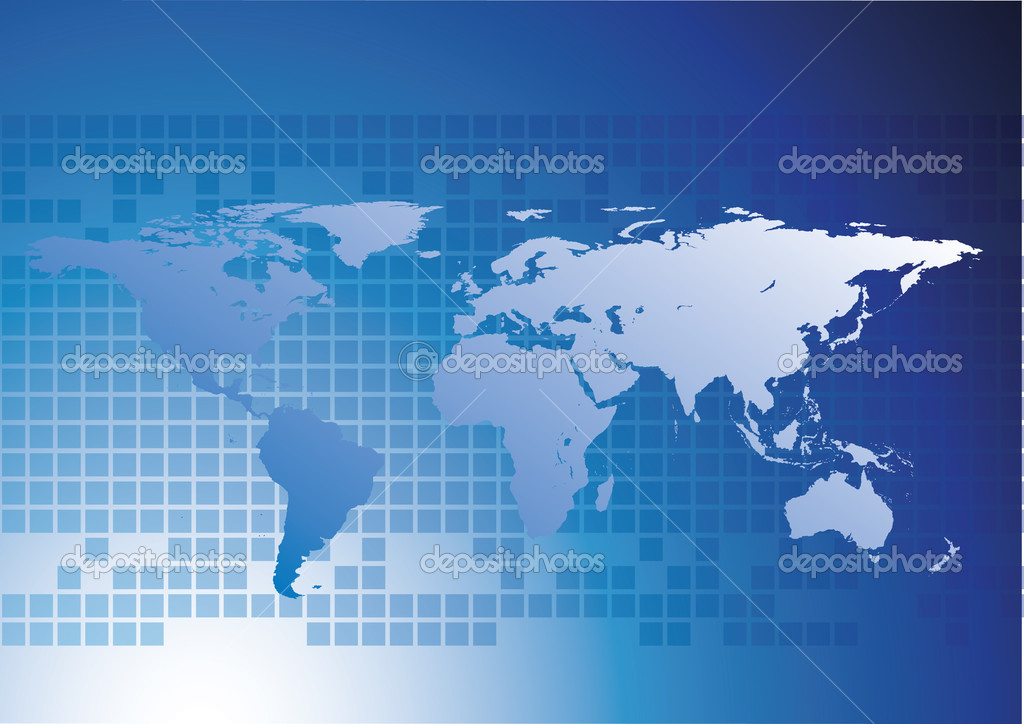 World map and earth globes with blue background  Photo #1865699
