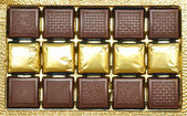 Chocolates in a box. — Stock Photo