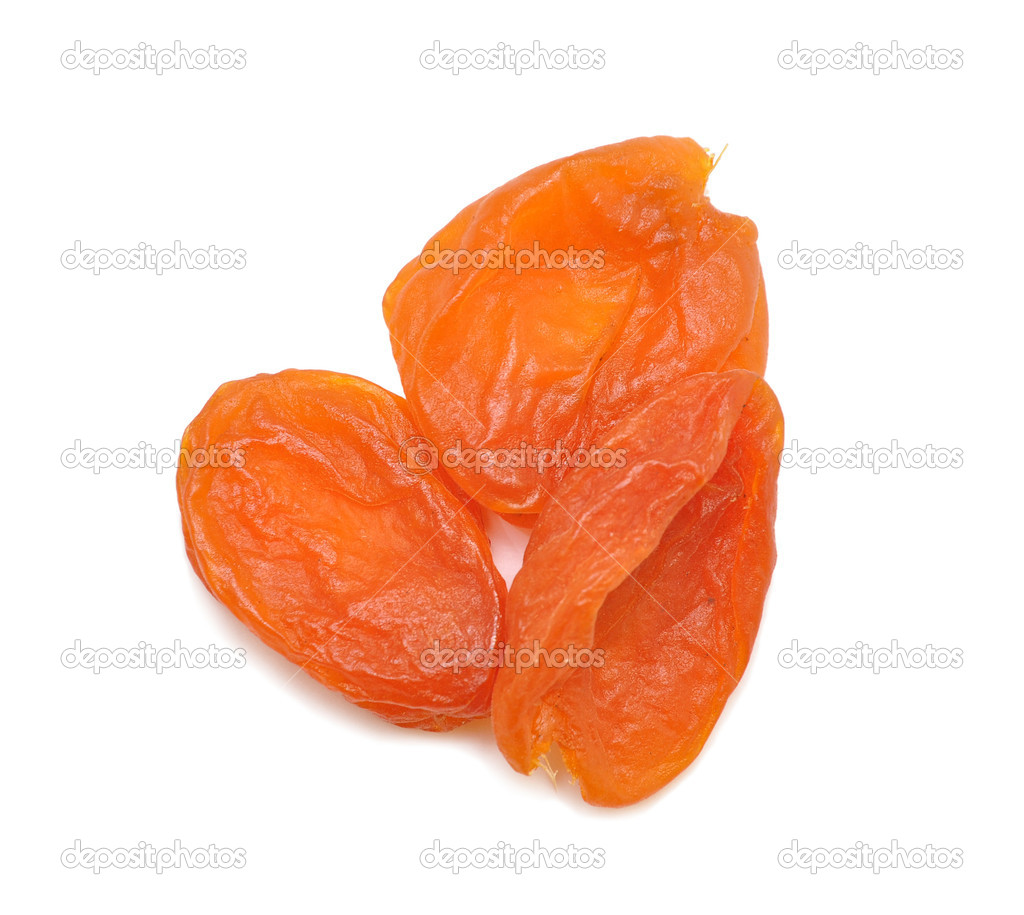 Dried apricot fruits isolated over white background  — Stock Photo #1875394