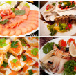 Selection of photos of fish dishes — Stock Photo