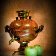 Samovar and two apples — Stock Photo
