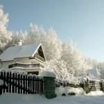 casa entre los árboles — Foto de Stock