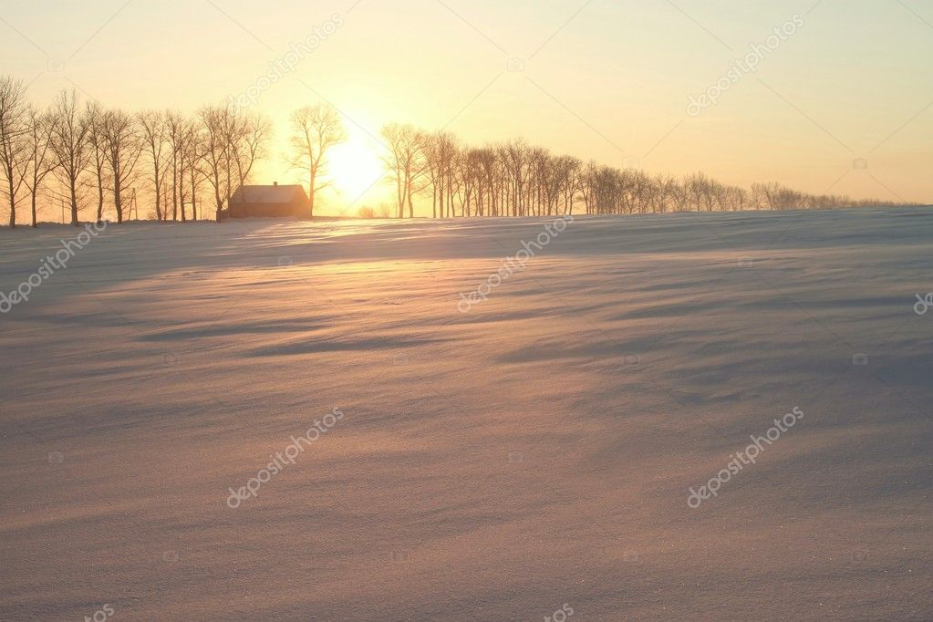 Rising sun shines among the trees and rural house. Photo taken in January. — Stock Photo #1976263
