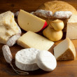 Selection of cheese and salami — Photo