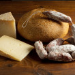 Selection of cheese and salami — 图库照片