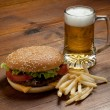 Hamburger with beer — Stock Photo