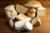 Selection of cheese and salami — Stock Photo