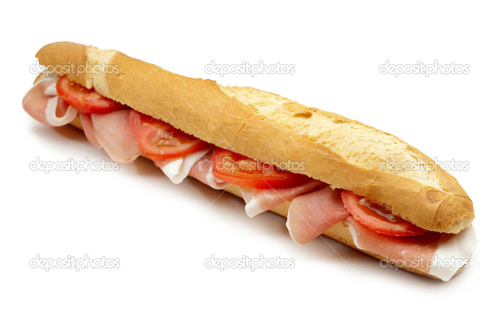 Ham and tomato sandwich on white  Stock Photo #1898064