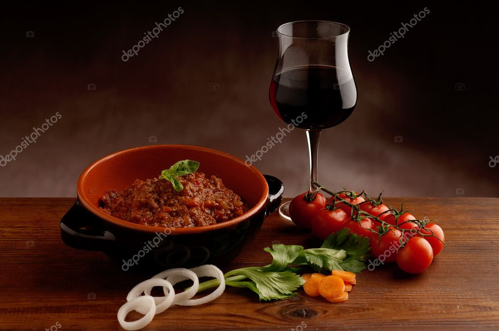 Bowl of Ragu and glass of wine   Stock Photo #1898688