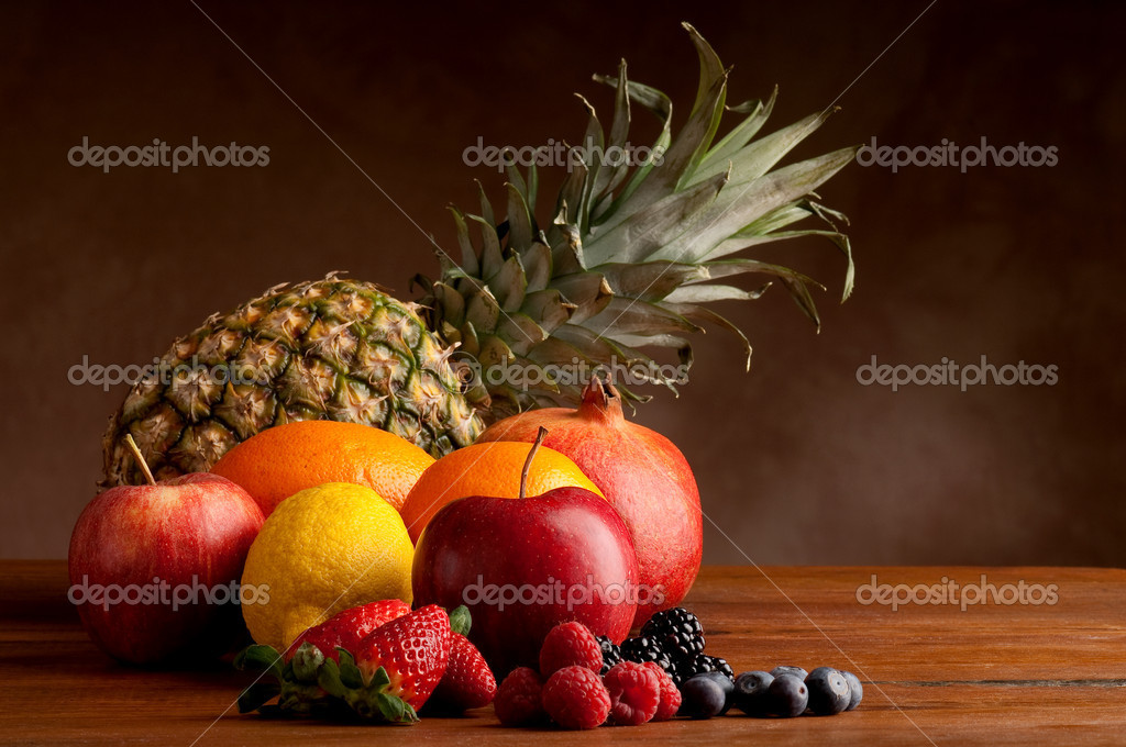 Mix fruits on ancient table  Stock Photo #1910125
