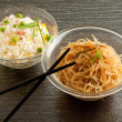Cantonese rice and soy spaghetti - Stock Photo